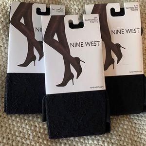 Nine West Detailed Patterned Black Tights
